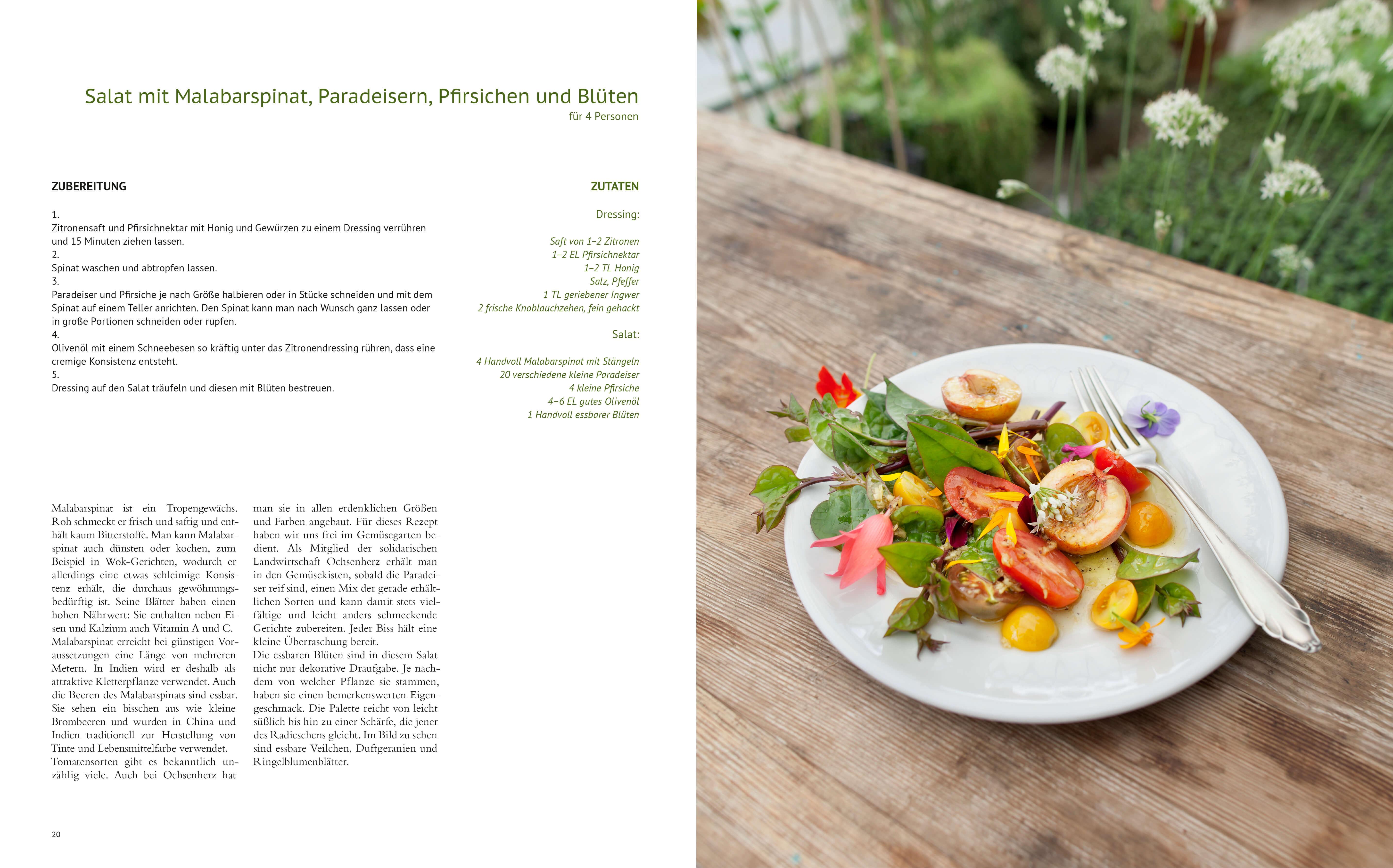 Salat mit Spinat und Pfirsich